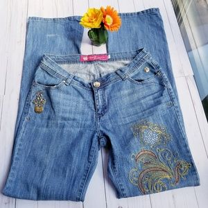 Apple Bottoms Embroidery Boot Cut Jeans Sz 10